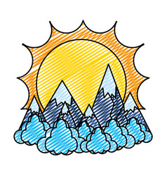 Doodle sun with ice mountains and clouds landscape vector