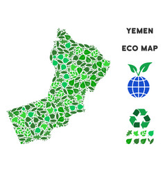 Ecology green collage yemen map vector
