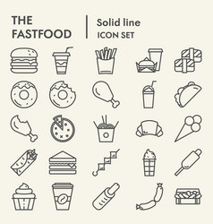Fastfood line icon set food symbols collection vector