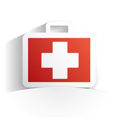 first aid kit icon paper vector image