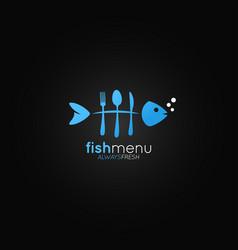 fish logo menu bones in the form of a fork vector image