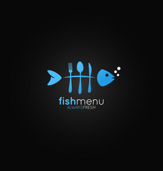 fish logo menu fish bones in the form of a fork vector image