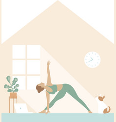 fit woman doing yoga morning workout at home vector image
