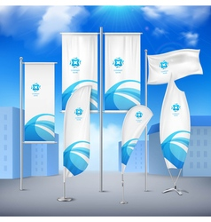 Flag Banners Collection Color Sky Background vector image