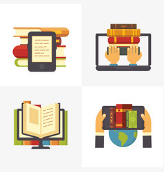 flat online library school library book access vector image