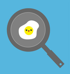 Fried egg on the pan icon cute cartoon character vector