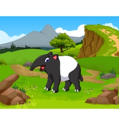 funny tapir cartoon in the jungle vector image