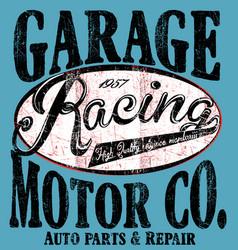 Garage car repair trucks typography t-shirt vector