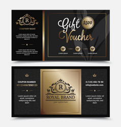 Gift voucher royal brand template vector