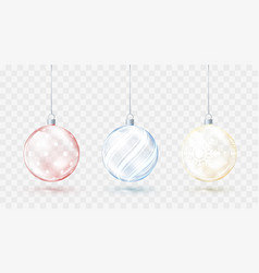 glass transparent christmas balls element vector image