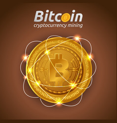 Golden bitcoin in shining light effect on dark vector