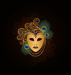 Golden mask with peacock feathers vector