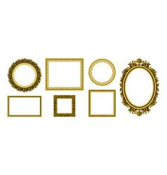 Golden picture frames royal antique photo border vector