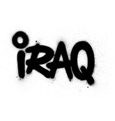 Graffiti iraq word sprayed in black over white vector