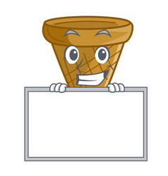 grinning with board wafer cone character cartoon vector image