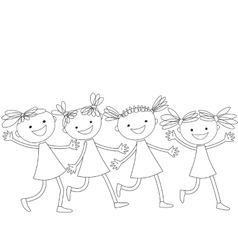 Group of running happy girls vector