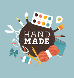 Hand made text label for creative art product vector