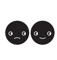 happy and sad emoji black concept icon vector image