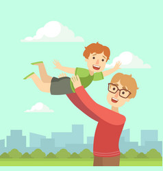 happy dad holding smiling son on his hands father vector image