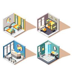 Hostel isometric 2x2 design concept vector