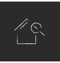 House and magnifying glass icon drawn in chalk vector image