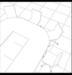Interior office meeting room tracing vector