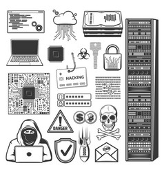 Internet phishing hacker fraud and cyber crime vector