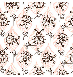 ladybug and line pink leaves on white seamless vector image vector image