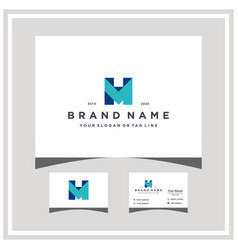 Letter mh logo design and business card vector