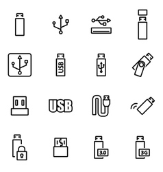 Line usb icon set vector