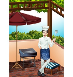 Male chef cooking on the grill vector