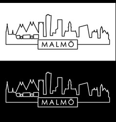 malmo city skyline linear style editable file vector image