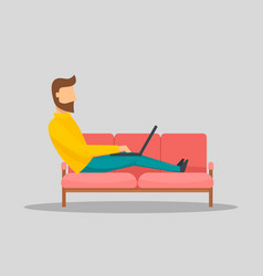 man working on laptop at sofa banner horizontal vector image