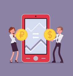 Mobile currency exchange dollar and ruble pair vector