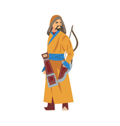 mongol warrior or hunter central asian character vector image
