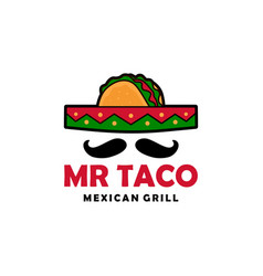 mr taco sombrero hat mustache logo icon vector image