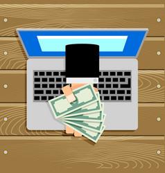 Online salary or compensation cash banknote vector