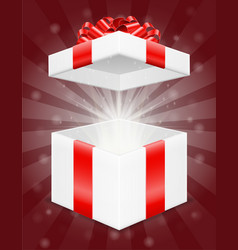 Open magic gift box with bow and ribbon stock vector