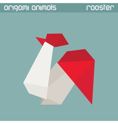 origami isolated animal Rooster vector image