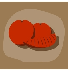 Paper sticker on stylish background orange slice vector