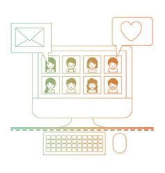 people picture profiles social network in desktop vector image