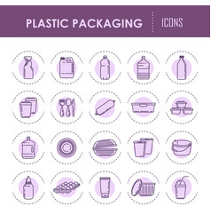 Plastic packaging containers line icons vector