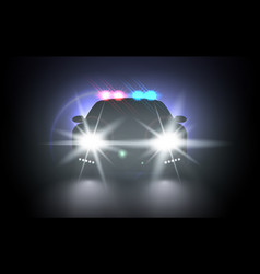 police car with flashing light realistic vector image