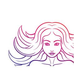 pretty girl face outline on white vector image