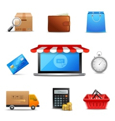 Realistic online shopping icons vector
