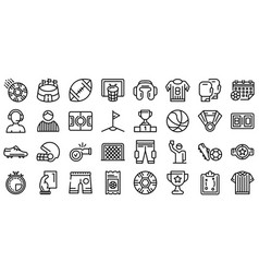 Referee icons set outline style vector