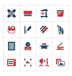 Set color icons screen printing vector