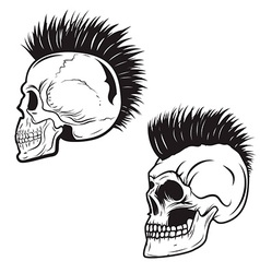 Set skull with mohawk hairstyle isolated on vector