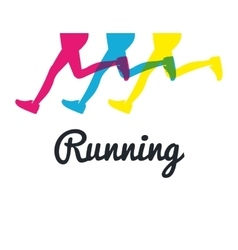 silhouette legs running colored graphic vector image