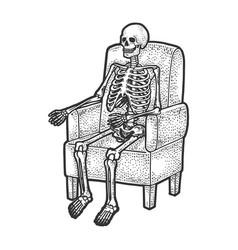 Skeleton in armchair sketch vector